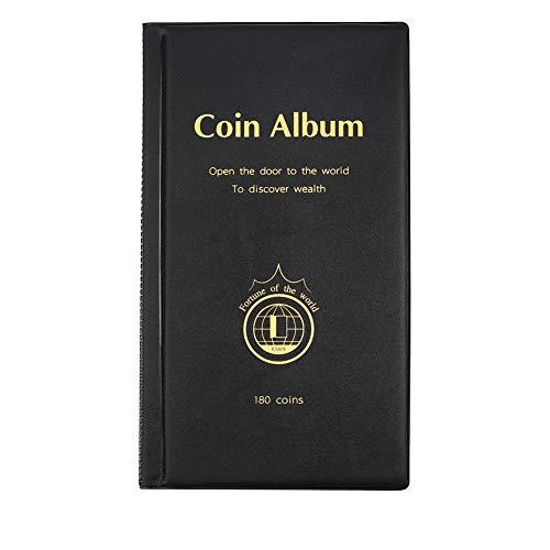 MULOVE 180 Taschen Münzsammlung Münzalbum,Münzen Sammelalbum Geeignet für Münzdurchmesser Weniger als 4,2 cm Münzen Aufbewahrung (Schwarz)