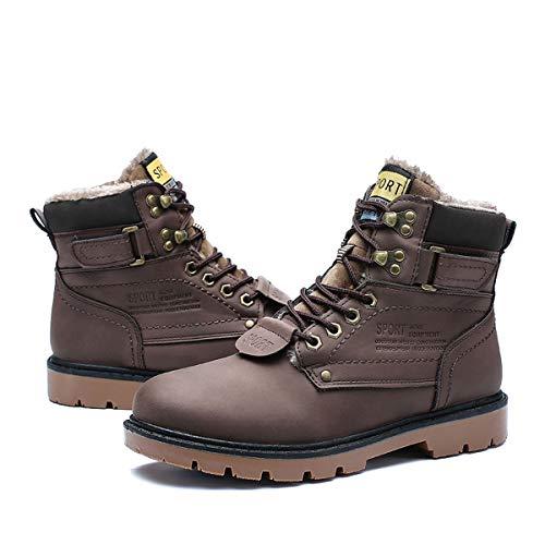 gracosy Hombre Botas de Nieve Invierno Trekking Zapatos 2020 Calientes Sneakers Antideslizante Botines Al Aire Libre Senderismo Cordones Negro,Talla pequeña