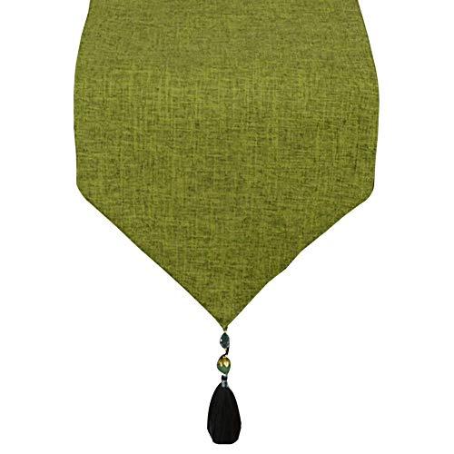 Chemin de Table en Coton et Lin, Couleur Unie Moderne et Simple, pour Meuble de télévision pour la Table à Manger et la Table Basse (Couleur : Vert, Taille : 30x180cm)