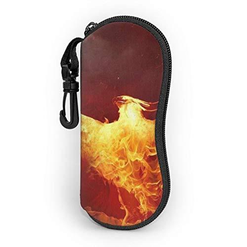 Gafas de sol caso de gafas con clip de cinturón rojo dorado quema Phoenix fuego cremallera ultra ligero gafas bolsa