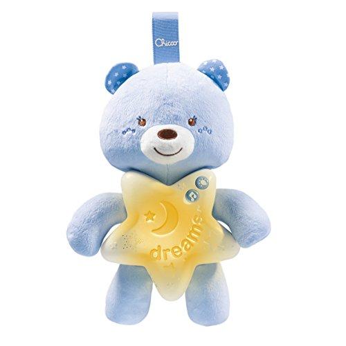 Chicco Gioco Goodnight Bear, Morbido Orsetto Azzurro con Luci, Suoni e Melodie Che Aiutano Il Bambino ad Addormentarsi, 0 Mesi +