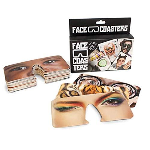 alltoshop Party Masken Face Coasters 40 Motive Gesichtsaufdruck Partybilder Untersetzer