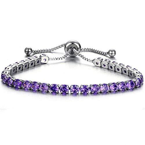 Jude Jewelers - Pulsera de Cadena apilable con circonitas cúbicas para Mujer, tamaño Ajustable