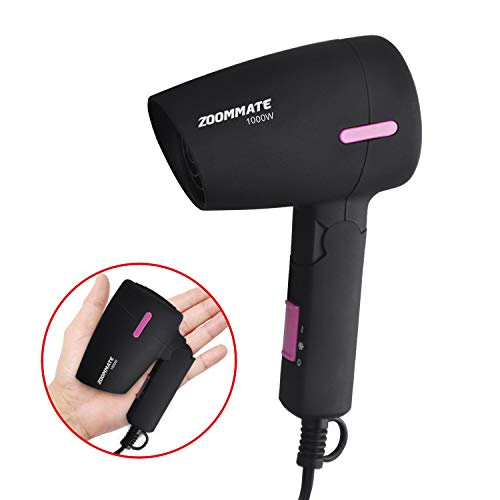 ZOOMMATE Mini Travel Hair Dryer 1000W Folding Handle Blow Dryer with Bag, Hot and...