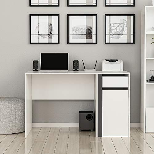 Bonamaison Escritorio de Estudio Blanco Antracita, Muebles para Sala de Estar, Dormitorio, Cocina, Oficina, diseñado y Fabricado en Turquía
