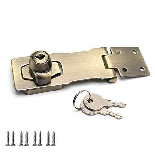 Rannb 4 Inch Vintage Screw Fixing Safety Guard Keyed Hasp Latches Keyed Hasp Lock Bronze Tone