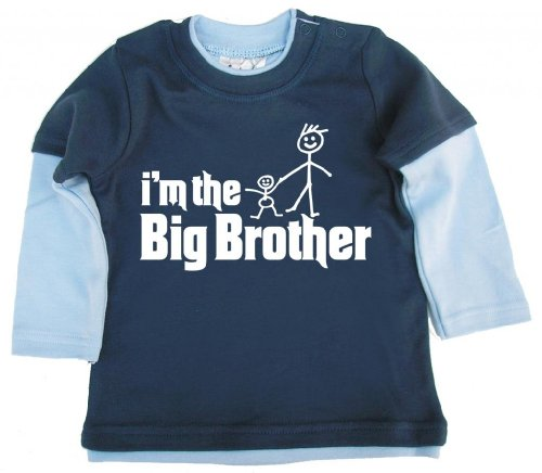 Dirty Fingers Dirty Fingers, I'm The Big Brother, Baby Skater Top, Blau & Hellblau, 6-12m