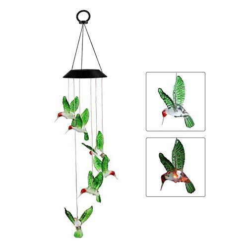 iMeshbean Solarlicht Windspiel, Solar LED Mobile Windspiele Farbwechsel Solar Windspiel Wind Glockenspiel Hängende Windspiele Dekoration Licht Solar Wind Chime für Außen Garten (Grüner Kolibri)
