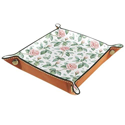 Chuangxin Roses - Bandeja de escritorio de piel de microfibra, práctica caja de almacenamiento para carteras, llaves y equipo de oficina, caja de almacenamiento para gafas, 20,5 x 20,5 cm, multicolor, 16x16cm