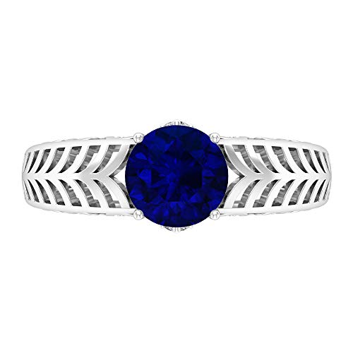 7 MM Solitaire Blue Sapphire Lab Created Engagement Ring, D-VSSI Moissanite and Sapphire Ring, Solid Gold Filigree Ring, 14K White Gold, Blue Sapphire Lab Created, Size:UK X1/2