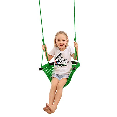 JKsmart Swing Seat for Kids Heavy Duty Rope Play Secure Children Swing Set,Perfect for Indoor,Outdoor,Playground,Home,Tree,with Snap Hooks and Swing Straps,440 lbs Capacity,Green(Patent Pending)