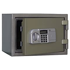 2-Hour fire rated at 1850°F (1010°C) 2- Layers of Steel (Steel inner walls and door, NOT PLASTIC) (2)Active rectangular locking bolt-(2) Stationary Rectangular Locking Bolts On Hinge Side--(4) Reprogrammable user codes (4-16) digit combination electr...