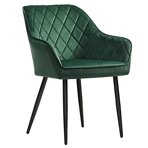 SONGMICS Esszimmerstuhl, Sessel, Polsterstuhl mit Armlehnen, Sitzbreite 49 cm, Metallbeine, Samtbezug, bis 110 kg belastbar, für Arbeitszimmer, Wohnzimmer, Schlafzimmer, grün LDC088C01