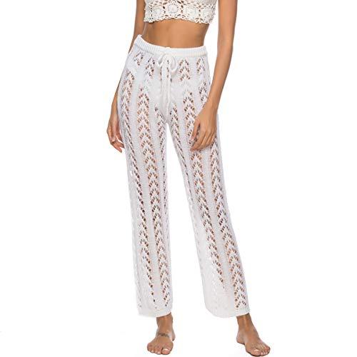 Nuofengkudu Mujer Largo Pantalones de Playa Bikini Braguitas Cover up Verano Elastica Cintura Alta Malla Anchos Pants Elegantes Beachwear (9333-Blanco,M)