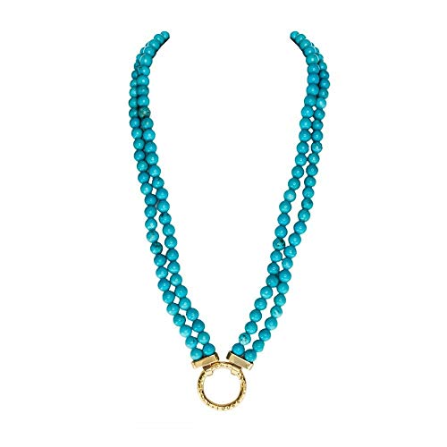 Nikki Lissoni Magnesite Turquoise 48cm Gold Plated Beaded Necklace N1003G48