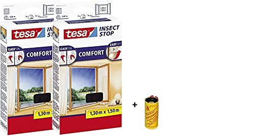 tesa Insect Stop Comfort Fliegengitter für bodentiefe Fenster/Insektenschutz mit Selbstklebendem Klettband in Anthrazit + 1 Rolle Fliegenfänger Gratis (2X 130 cm x 150 cm)
