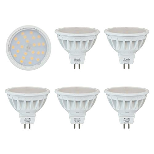 Aiwode 5W Lampadine LED GU5.3,Bianco Naturale 4000K,Equivalente 50W,Ra85 540LM,DC12V Mr16 LED Faretti,5 Pezzi.