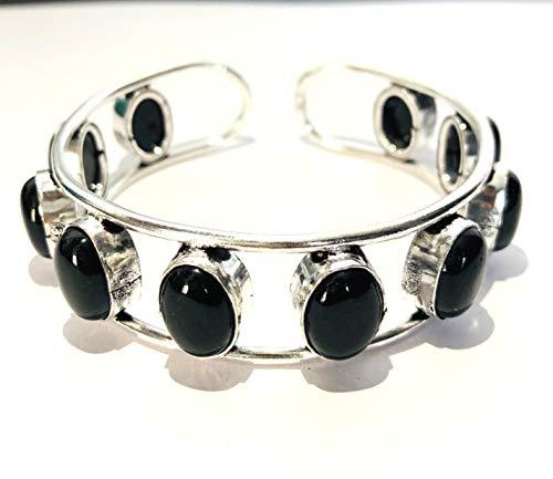 crystalmiracle Zwarte Agaat Metalen Armband Mode Sieraden Edelsteen Gift Wellness Psychic Energie Vrede Meditatie Handgemaakte Accessoire