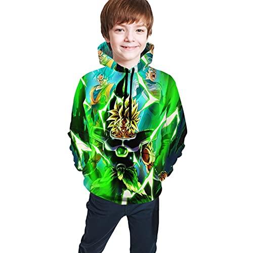 Sudaderas con capucha para niños y niñas, 3D Anime Dragon_Ball_Z Cool Funny Pullover Sudadera de manga larga con capucha, Negro 9, S
