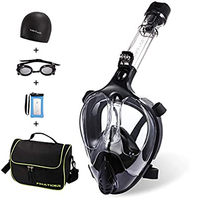 Full Face Snorkel Mask,Advanced Safety Breathing System Allows You to Breathe More Fresh Air While Snorkeling,180 Panoramic Anti Fog Anti Leak Foldable Snorkel Mask for Adult and Kids(Black-S)