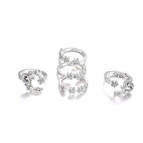 minjiSF 5 anillos de estrella y luna con diamantes para mujer, de plata, no se decolora, estilo bohemio, único, elegante, personalidad, moderno, regalo (plata)