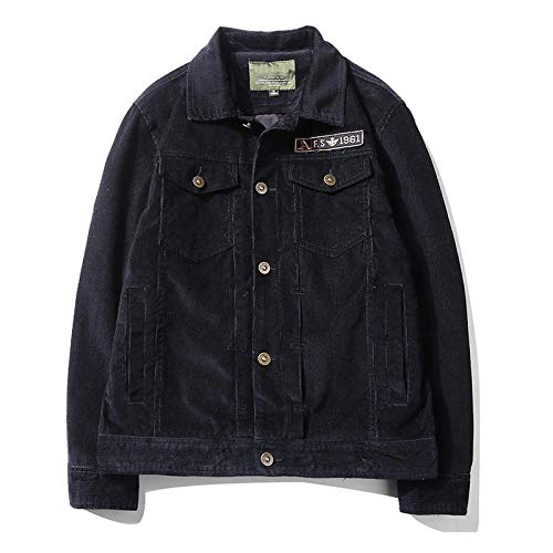 Men's Jacket Slim-Fit Casual Faux Leather Cotton Biker Coats Men's jacket retro large size-dark blue_2XL