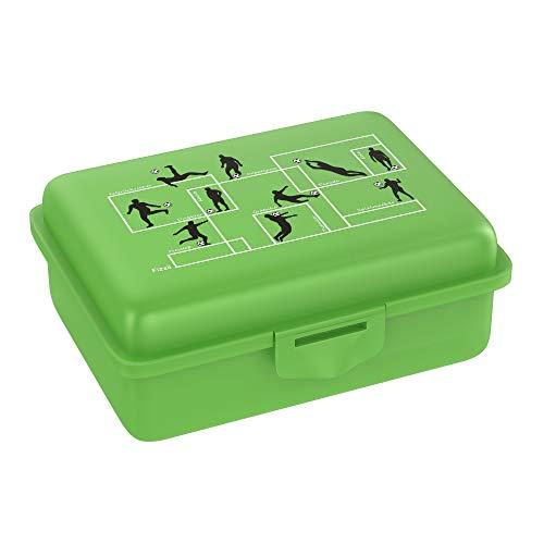 Fizzii Lunchbox (Inkl. Obst-/ Gemüsefach, schadstofffrei, spülmaschinenfest, Motiv: Spielzüge Fußball)