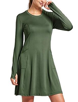 BALEAF Women's Sun Protection Dresses Beach Cover Ups UPF 50+ Quick Dry Long Sleeve Pockets Gofl Shirts Army Green M