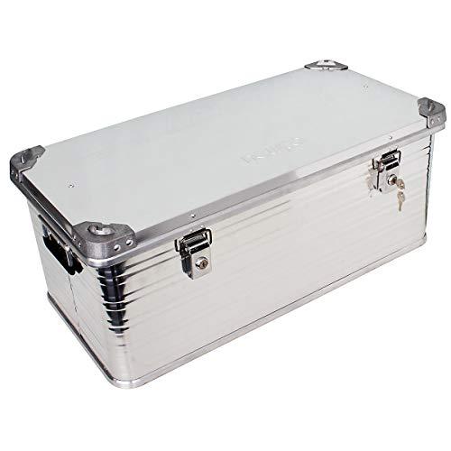 newpo Alubox | Staub - und spritzwasserfest | HxBxT 33 x 79 x 38,5 cm | 79 l | Aluminiumbox Box Kiste Alukiste Aluminiumkiste Transportbox Lagerbox