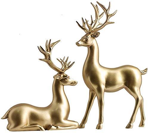 YB&GQ 2Pcs Renna Di Natale Statua Soprammobili,Creativo Coppia Cervo Scultura Decorazione Collezionabili Figurines Nozze Regalo Ufficio Prenotati Ornamenti Oro A Grande