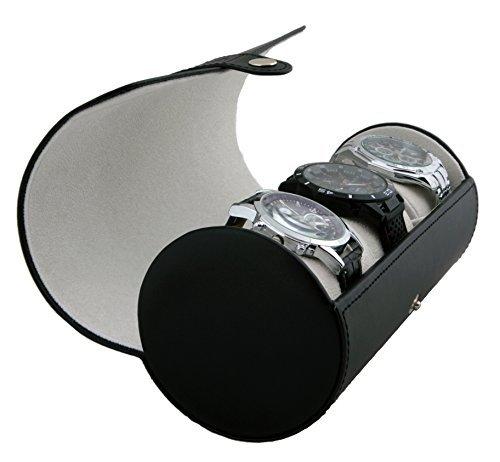 Case Elegance zylindrische Uhrenbox aus Vegan Leder in Schwarz für 3 Uhren