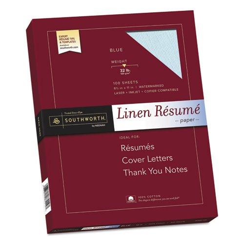 "Resume Paper, Linen, 32 lb, 8-1/2″""x11″"", 100/BX, Blue, Sold as 1 Box, 100 Each per Box"