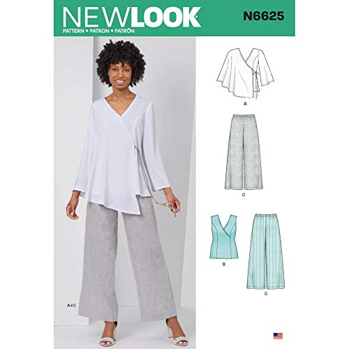 New Look Sewing Pattern 6625 Tops, Trousers A (10-12-14-16-18-20-22)
