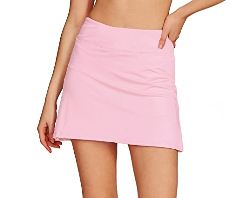 Cityoung Women's Casual Pleated Tennis Golf Skirt with Underneath Shorts Running Skorts l_pk l Light Pink