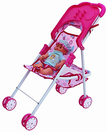 FOROLY Baby Stroller Trolley Nursery Toy with Doll Set Fold-able Baby Pram & Buggies for Kids Age 3 Years (Doll Trolly HV)