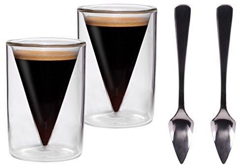"""2 x 70 ml de punta de juego de vasos de + 2 pcs de punta de cuchara de/2er-juego de 70 ml de doble pared para café - y vasos de chupito en la punta de protector de pantalla de cristal con diseño de flotante-efecto + 2 x """"Pressochini"""" de punta de cuchara de madera, ideal para café espresso, de bebidas, licores y grappa, te lo pido yo de Feelino"""