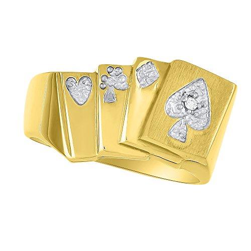 Anillo de Diamante Lucky Pinky anillo 14K oro amarillo–Poker Royal Flush