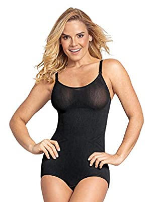 Leonisa Invisible Shapewear Bodysuit for Women with Tummy Control - Seamless Body Shaper Black
