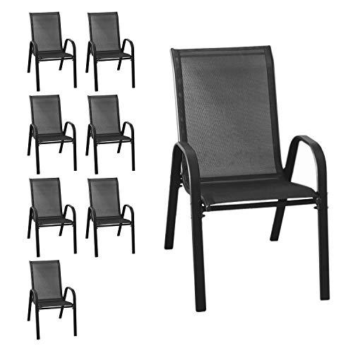 Wohaga® 8er Set Stapelstuhl 'New York', Textilenbespannung Schwarz, Stahlgestell pulverbeschichtet, stapelbar, Gartenstuhl