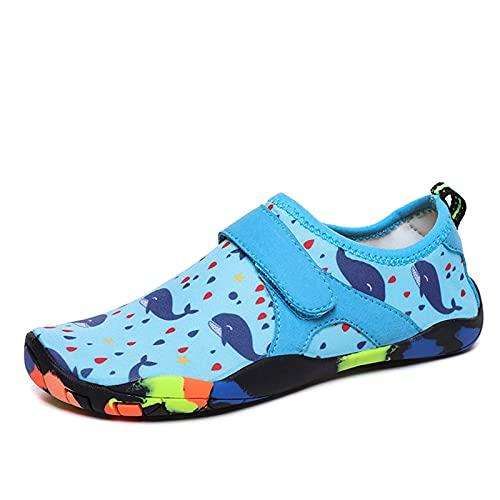SHENGWEI Zapatos de agua para buceo, esnórquel, natación, zapatos de playa para niños, para playa, correr, esnórquel, surf, buceo, yoga, ejercicio (color azul, tamaño: 33)