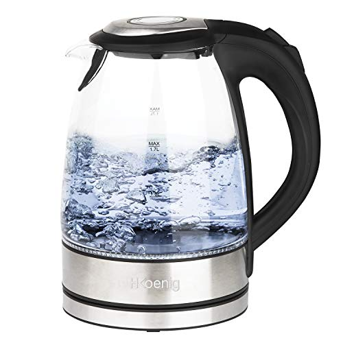 H.Koenig Hervidor de Agua Eléctrico Pequeño, 2200W, Capacidad de 1.7 L, Base 360º, Temperatura hasta 100º en Tiempo Récord, Vidrio BO28, plástico, Transparente
