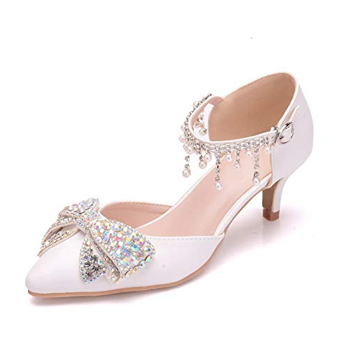 Zapatos De Novia De Tacones Altos Las Mujeres Punta Cerrada Diamante De...