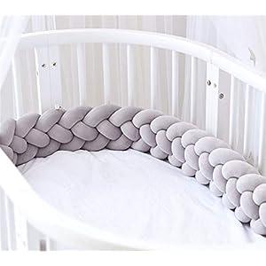 Crib Bed Bumper Pillow Cushion 4 Braided Crib Sides Protector Infant Cot Rails Newborn Gift Knotted Braided Plush Nursery Cradle Decor Newborn Gift