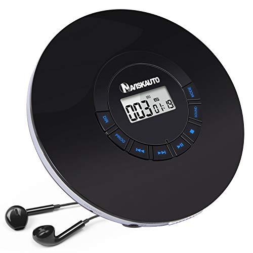 NAVISKAUTO Lettore CD Portatile con cuffie e batteria ricaricabile,18 Ore di autonomia, Antiurto, supporta CD, MP3, CD-R, CD-RW, AUX, EXTRA BASSO, AUDIOLIBRI,18 mesi di garanzia