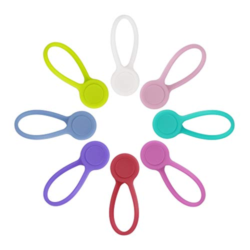 Magnetische Kabelhalter Wiederverwendbare Silikon Magnetisch Kabelbinder Verstellbare Magnetkabelklemmen für Kopfhörer USB Kabel Schlüssel Befestigungssäcke Lesezeichen 8 Stück