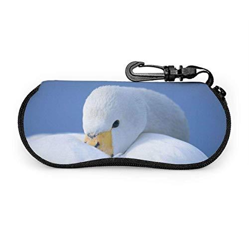 Lunettes de soleil de couchage canard blanc avec boucle de verrouillage sac souple tissu de plongée ultra léger étui à lunettes à glissière