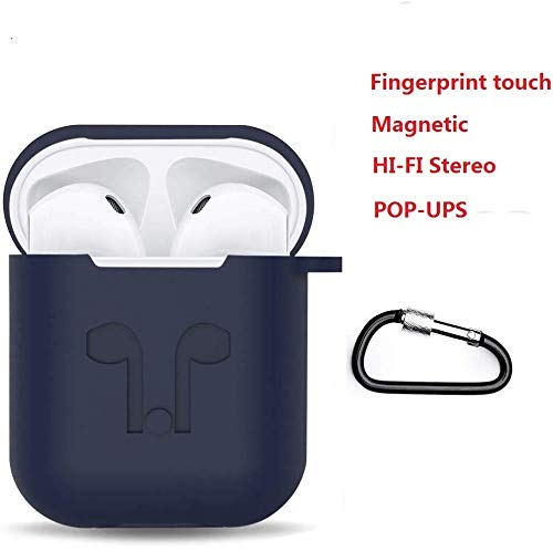 Bluetooth 5.0 True Wireless Bluetooth Earbuds Ehuntec Wireless Headset for Apple airpod HiFi Stereo Noise Cancelling in-Ear Bluetooth Headphone with Portable Shockproof Silicone Charging Case (Blue)