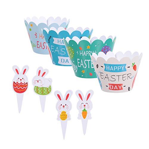 SOIMISS 24 Piezas de Envoltorios de Cupcake de Pascua 24 Piezas de Cupcake de Conejo Forros de Cupcake de Conejito Papel para Hornear Suministros para Fiestas de Pascua Decoraciones para