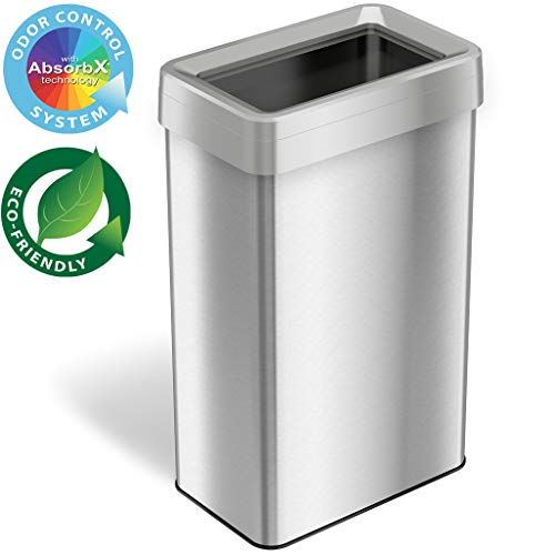 iTouchless 21 Gallon Dual-Deodorizer Open Top Trash Can Rectangular Shape, Commercial Grade Stainless Steel, 80 Liter Recycle Bin, Silver