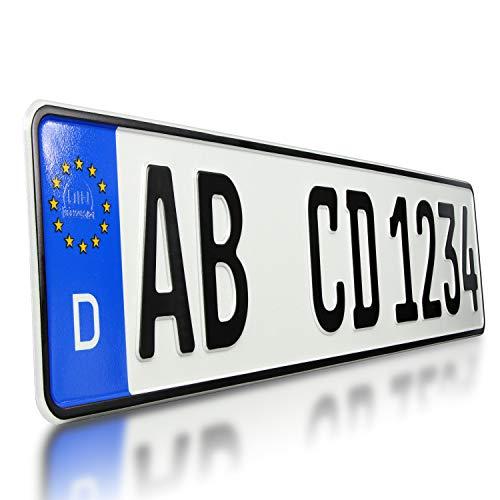 TEILE-24.EU Malinowski 1 x KFZ Kennzeichen Nummernschild für PKW Anhänger Fahrradträger mit individueller Prägung nach Ihren Vorgaben + KFZ Schein Schutzhülle